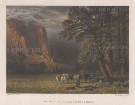 "Bierstadt: A Halt in the Yosemite Valley. 1850. A hand coloured original antique steel engraving. 13"" x 8"". [USAp5029]"