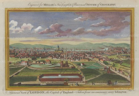 Panoramic view of London: Taken from an eminence near Islington: With decorative border.