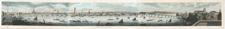 RARE: London from the Adelphi: Showing St Paul's, College Wharf Saw Mills, and the City with the relatively undeveloped Thames.