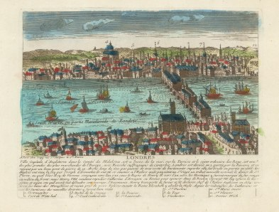 View from Southwark of London: From Whitehall to Greenwich. With brief history and key in French.