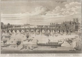 South East Prospect of Westminster Bridge: From Westminster Abbey to Lambeth with the Lord Mayor and City Livery barges on the Thames. With key to barges and landmarks.