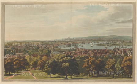 Panorama from Greenwich Park across the Thames towards St. Paul's. After Joseph Farington.