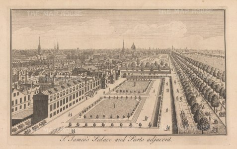 St James's: Aerial view of the palace, park and Pall Mall to St Paul's