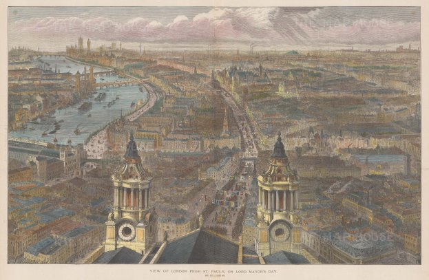 Bird's Eye View: From between the clock and bell towers of St.Paul's looking towards Westminster. The Lord Mayor's Procession can be seen going up Fleet Street and Ludgate Hill. After Sir John Sulman.