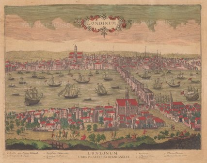RARE: Londinum Urbs Praecipua Regni Angliae. Panorama from Westminster to the Tower of London viewed from the South. St.Paul's is imagined as it was still in the process of being rebuilt. With key.