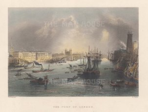 Port of London: Panoramic view from the docks towards the Tower.