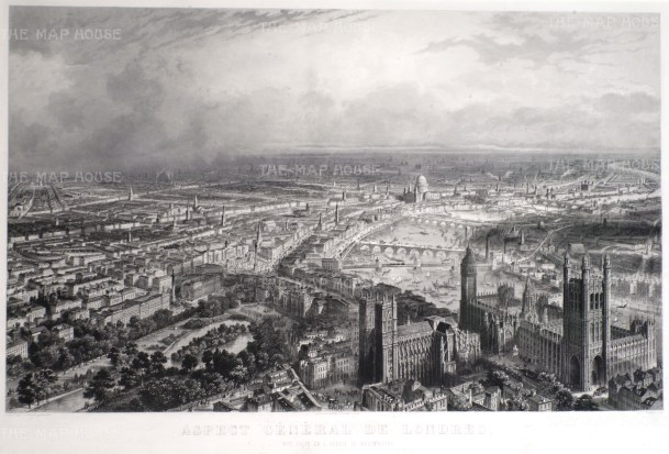 Bird's eye view of London: Looking eastwards over the Thames from Westminster Abbey, and the Houses of Parliament