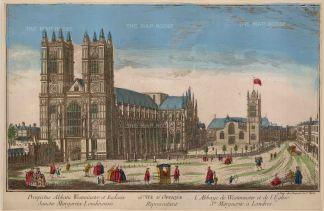 """Vue D'Optique: Westminster Abbey. c1760. An original colour antique copper engraving. 17"""" x 12"""". [LDNp10049]"""