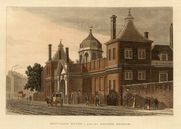 View of the exterior of Montagu House, the first British Museum.