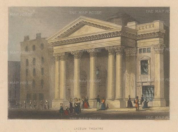 "Tallis: Lyceum Theatre. 1851. A hand coloured original antique steel engraving. 4"" x 3"". [LDNp10465]"