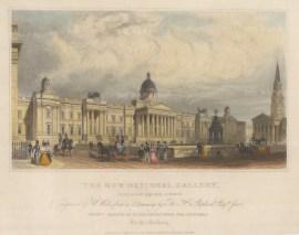 "Shepherd: National Gallery, Trafalgar Square. 1824. A hand coloured original antique steel engraving. 8"" x 6"". [LDNp10467]"