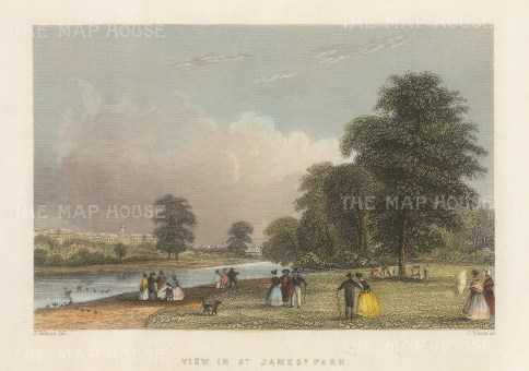 "Fearnside: St James's Park. 1838. A hand coloured original antique steel engraving. 7"" x 4"". [LDNp10512]"