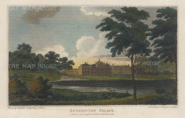 "Hughson: Kensington Palace. 1805. A hand coloured original antique copper engraving. 7"" x 6"". [LDNp10538]"