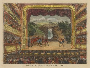 """Old & New: Covent Garden Theatre. c1880. A hand coloured original antique wood engraving. 6"""" x 4"""". [LDNp10548]"""