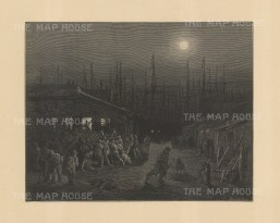 East End. The Docks at night From the famous French artist's four year pilgrimage through London.