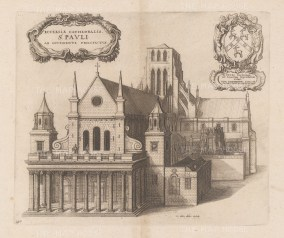 West front with statues of Charles I, James I, and Old Chapter House to right. Second state Dugdale's Monasticon Anglicanum, vol. III,
