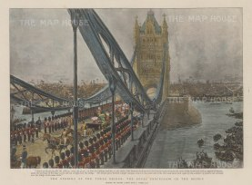 Tower Bridge. The opening of the bridge. The Royal entourage and military escort crossing.