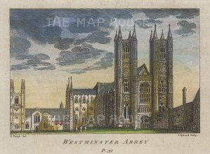 """Ryland: Westminster Abbey. c1770. A hand coloured original antique copper engraving. 5"""" x 4"""". [LDNp10604]"""