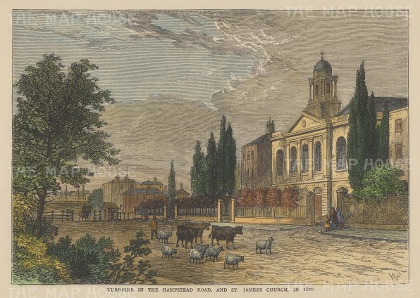 Hampstead: View of Hampstead Road and St John's Church in 1820.