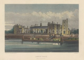 """Cassell: Lambeth Palace. c1883. A hand coloured original antique wood engraving. 8"""" x 6"""". [LDNp10658]"""