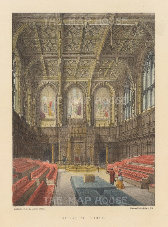 """Cassell: House of Lords. c1883. A hand coloured original antique steel engraving. 6"""" x 8"""". [LDNp10663]"""