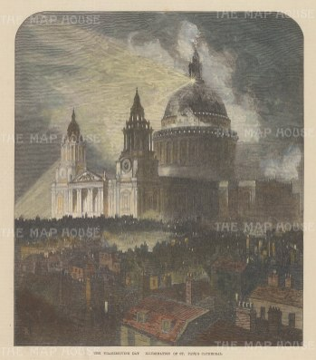 """Graphic Magazine: St Paul's Cathedral. 1872. A hand coloured original antique wood engraving. 8"""" x 10"""". [LDNp10681]"""