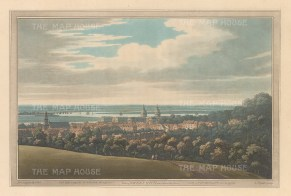 Greenwich. View over the observatory and down the Thames. After Joseph Farington.