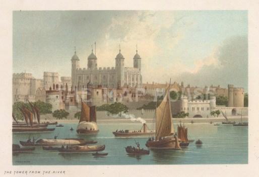 "Nelson: Tower of London. 1889. An original antique chromolithograph. 5"" x 4"". [LDNp10725]"