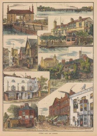 Putney. Views of Putney Bridge, Richmond Road, Windsor Street, High Street, The Bells, Bridge House, Toll House and Barnes bank.
