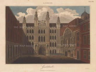 Guildhall. View of the front elevation. Engraved by John Pass.