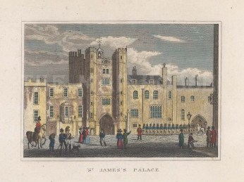 "Dugdale: St James's Palace. 1829. A hand coloured original antique steel engraving. 4"" x 3"". [LDNp10757]"