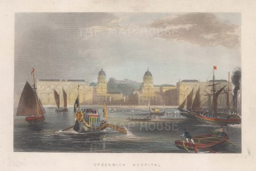 "Tallis: Greenwich Hospital. 1851. A hand coloured original antique steel engraving. 6"" x 4"". [LDNp10764]"