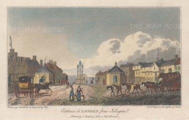 "Stratford: Islington. 1810. A hand coloured original antique steel engraving. 5"" x 4"". [LDNp10766]"