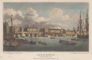London Bridge as it was in 1757 before the demolition of the houses.