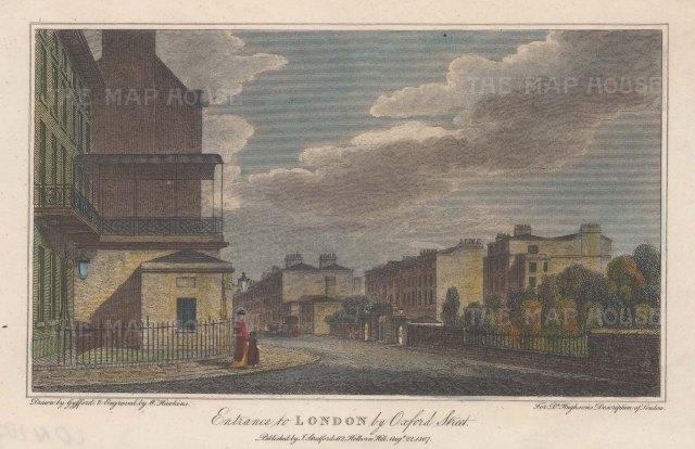 "Stratford: Oxford Street. 1810. A hand coloured original antique steel engraving. 5"" x 4"". [LDNp10768]"