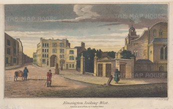 "Faulkner: Kensington. 1820. A hand coloured original antique steel engraving. 6"" x 4"". [LDNp10771]"