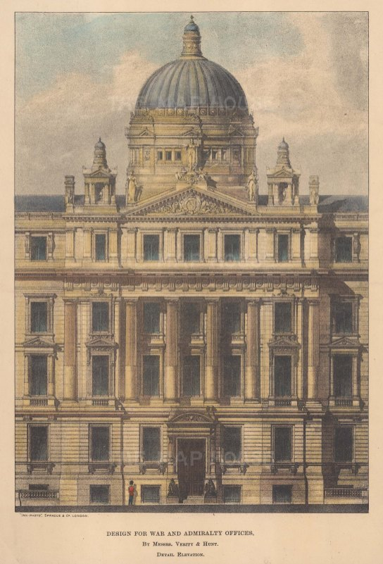 """The Builder: Admiralty and War Offices. 1884. A hand coloured original antique lithograph. 7"""" x 9"""". [LDNp10779]"""