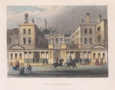 "Tallis: Admiralty House. 1851. A hand coloured original antique steel engraving. 4"" x 3"". [LDNp10789]"