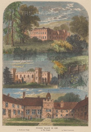 Fulham Palace. Views of the South east front, chapel, and inner courtyard in 1798.