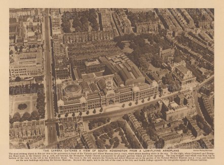 South Kensington. Bird's eye view from Brompton Oratory to Exhibition Road.
