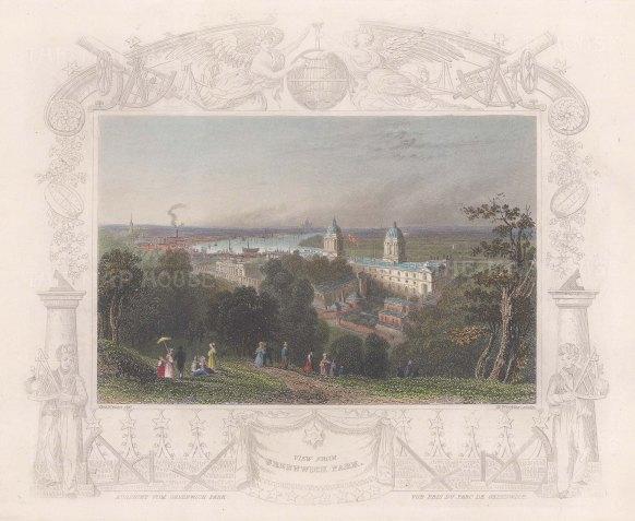 "Tombleson: Greenwich Park. c1845. A hand coloured original antique steel engraving. 8"" x 7"". [LDNp10826]"