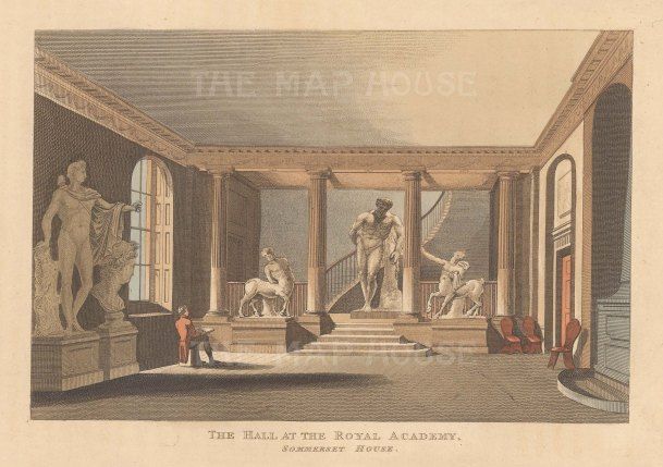 (Courtauld Gallery). View of the hall at Somerset House with Apollo Belvedere, the Farnese Hercules and Furietti Centaurs.