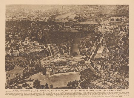 Aerial view from Westminster to Blackfriars, looking over Buckingham Palace, St James's Park, the Mall and Birdcage walk