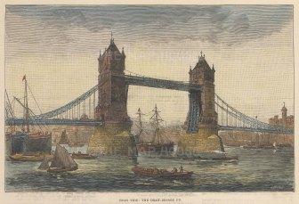 "Illustrated London News: Tower Bridge. 1885. A hand coloured original antique wood engraving. 9"" x 6"". [LDNp10852]"