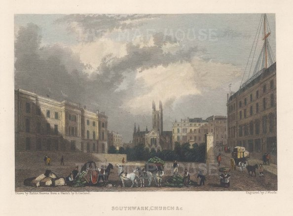 """Fearnside: Southwark Cathedral. 1838. A hand coloured original antique steel engraving. 6"""" x 4"""". [LDNp10858]"""