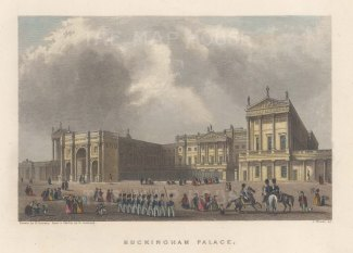 "Fearnside: Buckingham Palace. 1838. A hand coloured original antique steel engraving. 6"" x 4"". [LDNp10866]"