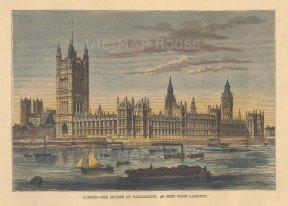 "Reclus: Houses of Parliament. 1894. A hand coloured original antique wood engraving. 8"" x 5"". [LDNp10871]"