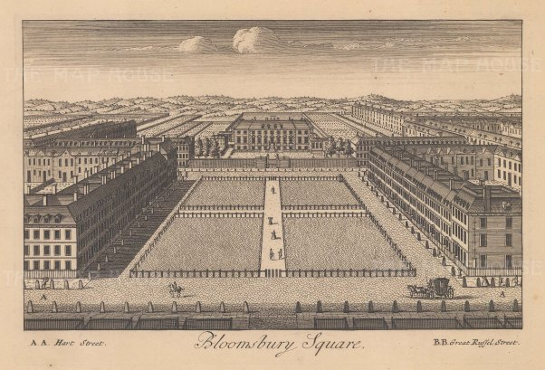 """Stow: Bloomsbury Square. c1750. An original antique copper engraving. 9"""" x 6"""". [LDNp10878]"""