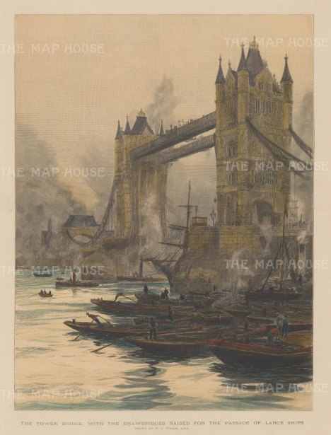 "Illustrated London News: Tower Bridge. c1894. A hand coloured original antique wood engraving. 14"" x 19"". [LDNp7768]"