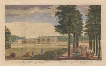 "Stow: Kensington Palace. 1754. A hand coloured original antique copper engraving. 17"" x 11"". [LDNp8843]"